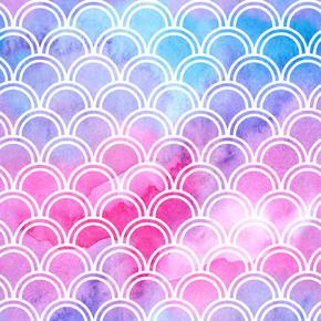 水彩独角兽无缝图案。 亮丽的鱼鳞装饰品