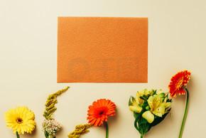 平躺在美丽的花朵和空白橙色卡安排米色背景