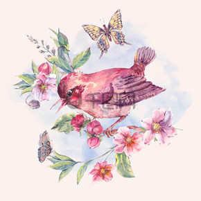 水彩花卉卡,盛开的树枝上的小鸟