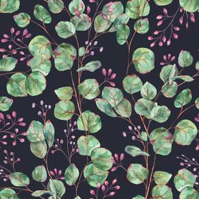 水彩盛开的紫杉树无缝图案,自然葡萄酒