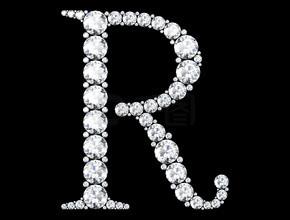 钻石字母与宝石 (高分辨率三维图像)
