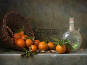 静物橘子和古董瓶