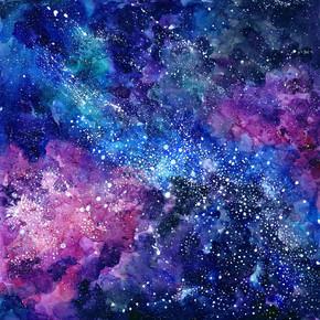 空间手绘水彩背景。与明星的宇宙纹理。抽象背景