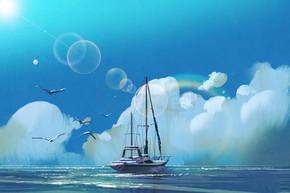 在夏天的天空海帆船