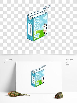 蓝色的牛奶盒手绘插画