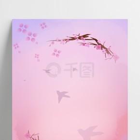 樱花节手绘樱花环背景
