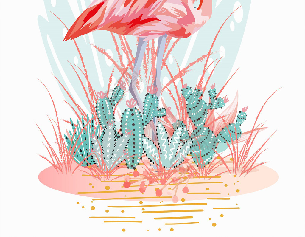 粉色小清新火烈鸟装饰画