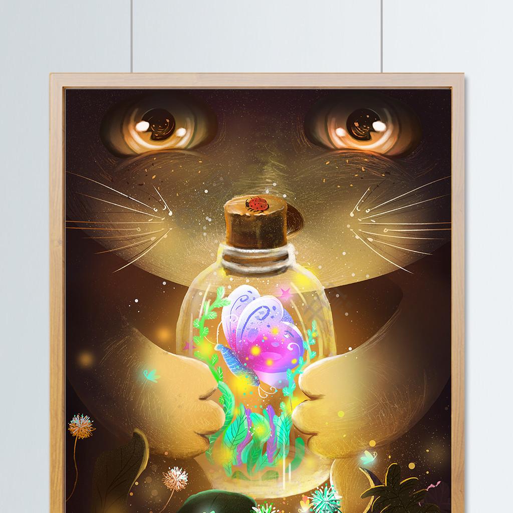 萤灵之光治愈系唯美肌理猫咪与蝴蝶插画