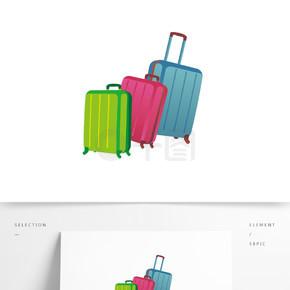 矢量彩色行李箱装饰图案