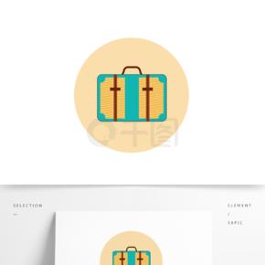 简约矢量蓝色书包背包手提包行李箱元素