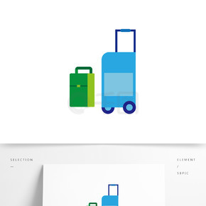 矢量卡通行李箱装饰图案