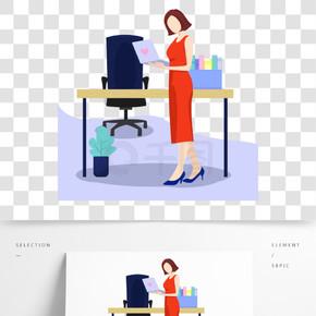 商务白领工作女人办公室扁平风手绘插画