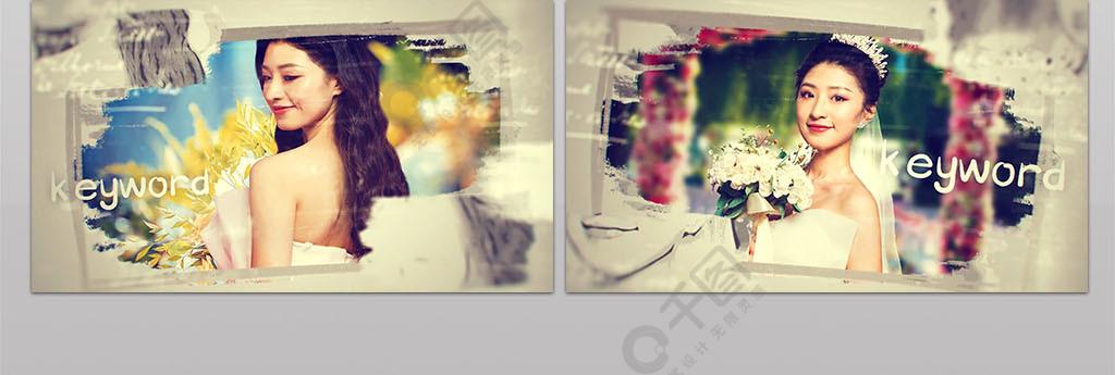 手绘笔刷爱情婚礼相册纪念视频AE模板