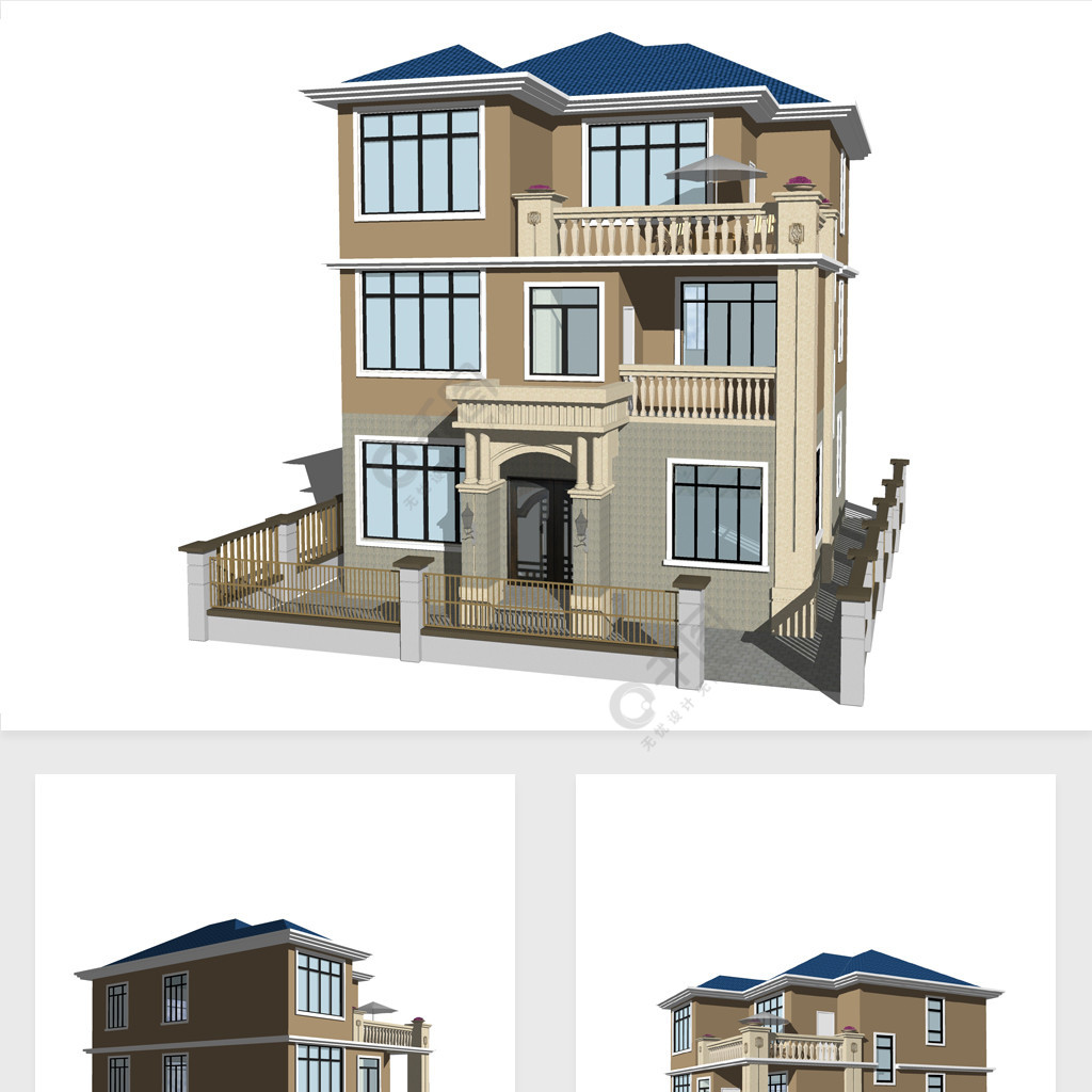 欧式风格别墅带围墙su模型