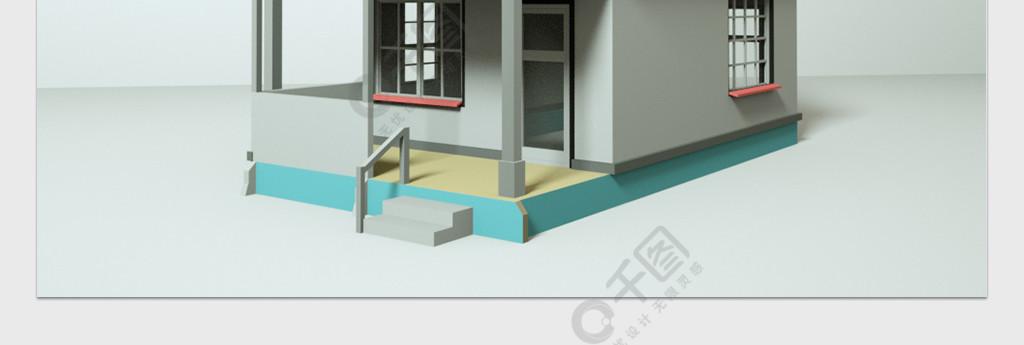 C4D小岗亭模型