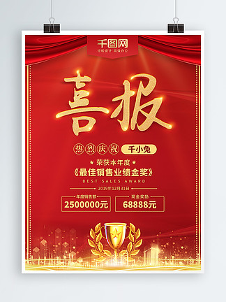 红色喜庆喜报年度最佳销售展示海报