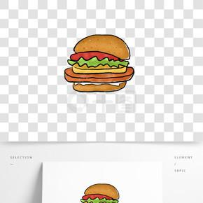 手绘卡通汉堡素材