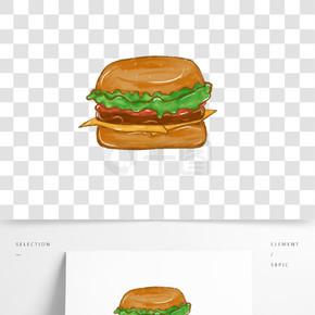 手绘美味汉堡快餐