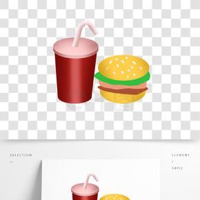 卡通快餐汉堡氪可乐套餐