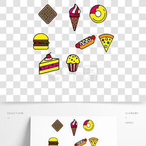 甜品面包饼干汉堡香肠元素卡通