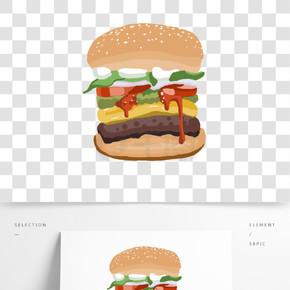 汉堡牛排扁平风手绘免抠图