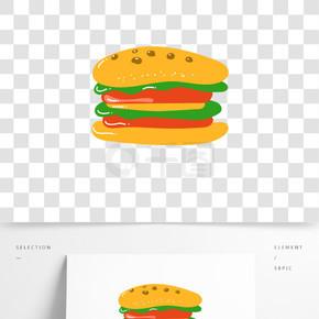 卡通双层牛肉汉堡矢量图