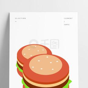 卡通餐饮外卖汉堡矢量元素