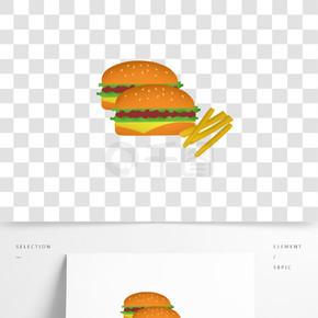 汉堡薯条快餐店矢量透明分层图标