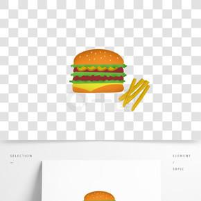 双层巨无霸加量汉堡薯条快餐透明矢量图标