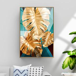 现代金箔金色几何抽象金色叶子植物装饰画