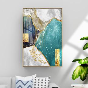 现代抽象金箔金色流淌色块装饰画