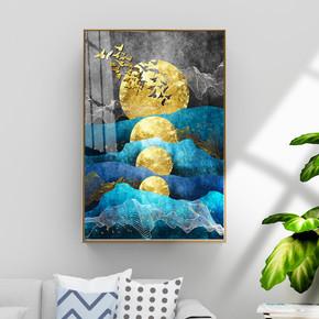 现代抽象金色金箔上水风景装饰画