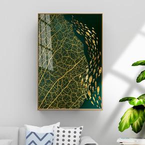 抽象金色叶脉金色鱼装饰画