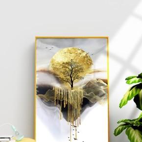 现代简约金色金箔抽象意境风景装饰画