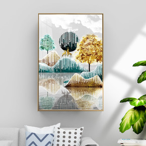现代简约金色鎏金抽象风景装饰画