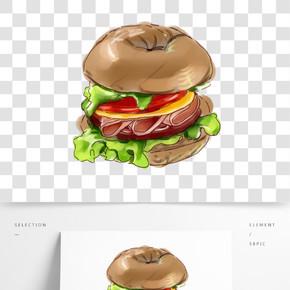 杂粮汉堡手绘装饰