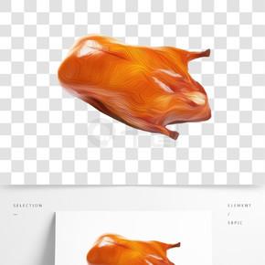 创意油画烤鸭插画免抠