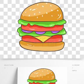 原创手绘卡通食物汉堡素材零食