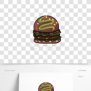 汉堡包矢量卡通手绘免抠元素素材