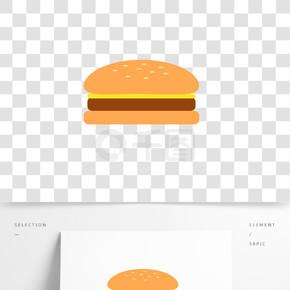 卡通手绘扁平化汉堡图标快餐牛肉汉堡