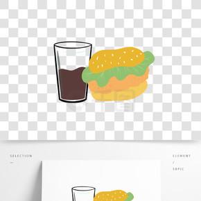 原创汉堡可乐手绘快餐