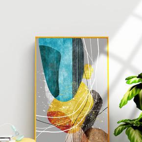 现代抽象手绘色块装饰画