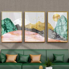 抽象金箔大理石三联沙发北欧装饰画