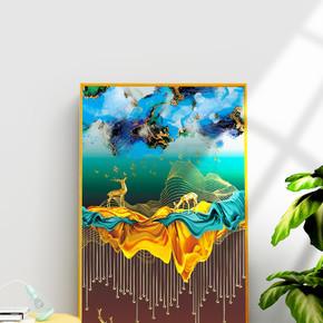 抽象现代轻奢金色麋鹿装饰画