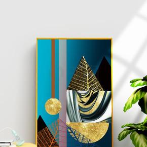 现代抽象已经抽象金箔金色几何金色叶脉装饰