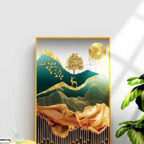 现代抽象已经金箔金色麋鹿装饰画