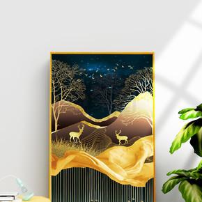 现代抽象金色金箔麋鹿晶瓷装饰画