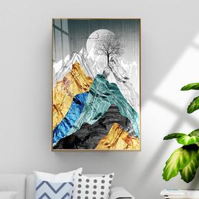 现代抽象金箔金色大理石纹理风景装饰画