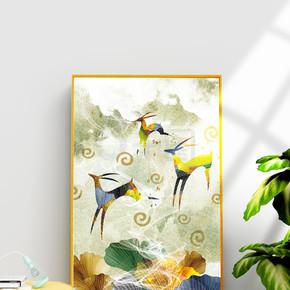 现代抽象银杏叶麋鹿装饰画