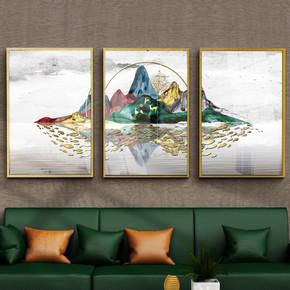 现代抽象三联金箔山水禅意风景装饰画